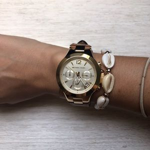 Michael Kors watch double wrap band/gold face